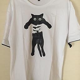 Amazon Tシャツ メンズ 半袖 ゆったり 重ね着 風 ネコ 柄 プリント ショルダー レイヤード おしゃれ トップス カジュアル シルエット 快適 綿 無地 五分袖 大きい サイズ イエロー Tシャツ カットソー 通販
