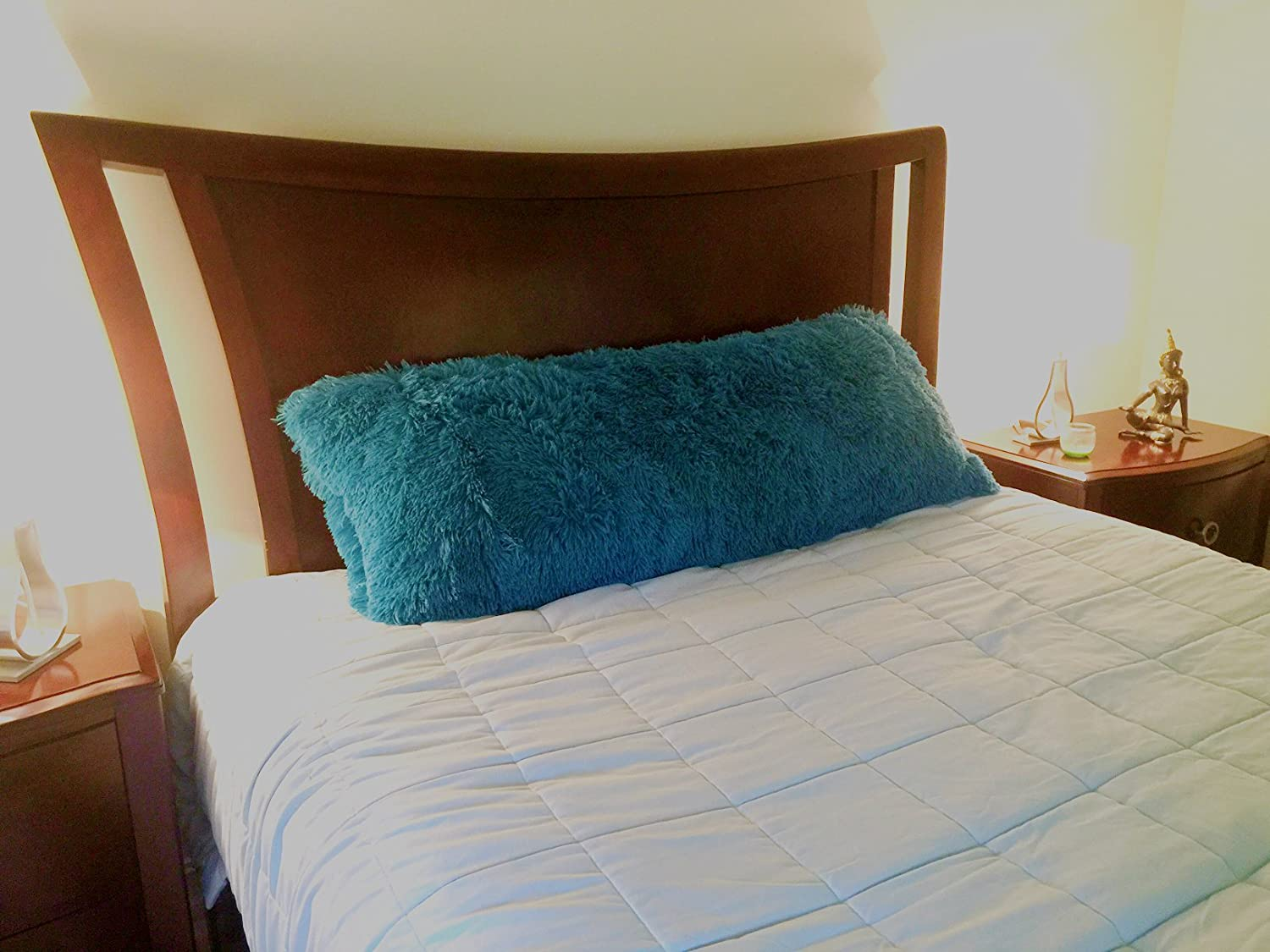 Multiple Colors Available Turquoise Ultra Soft Removable with Sturdy Zipper Closure Fits up to 20 X 54 Body Pillow Brilliant Home Design Luxurious Faux Fur Body Pillow Cover with Long Hair