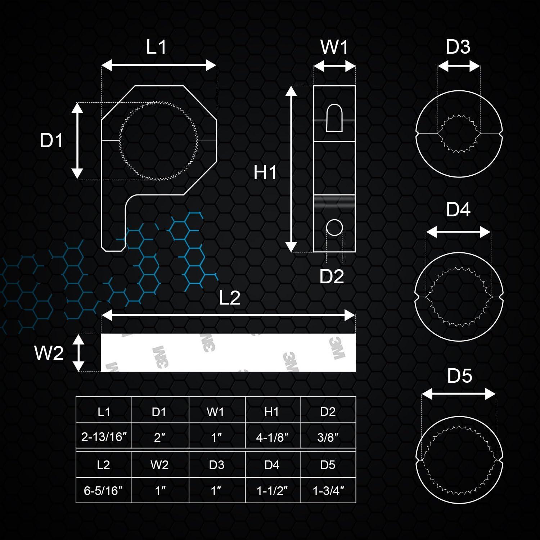 Llave Allen incluida Soporte para Rollo de Techo WEISIJI Kit de Montaje de luz LED para Barra de luz de Trabajo para LED Off-Road luz Horizontal Tubo de Barra DE 1//1,5 //1,75//2 2 Abrazaderas
