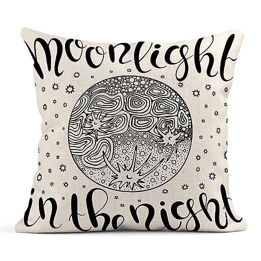 Cojín Astronomía Luz de Luna en la Noche Letras Doodle Luna ...