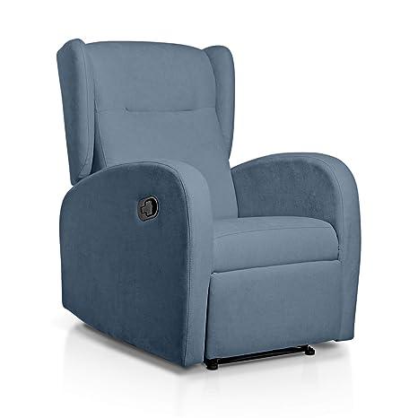 SUENOSZZZ-ESPECIALISTAS DEL DESCANSO Sueños ZZZ | Sillon Relax reclinable Home tapizado Tela Antimanchas Azul | Sillon reclinable butaca Relax | ...
