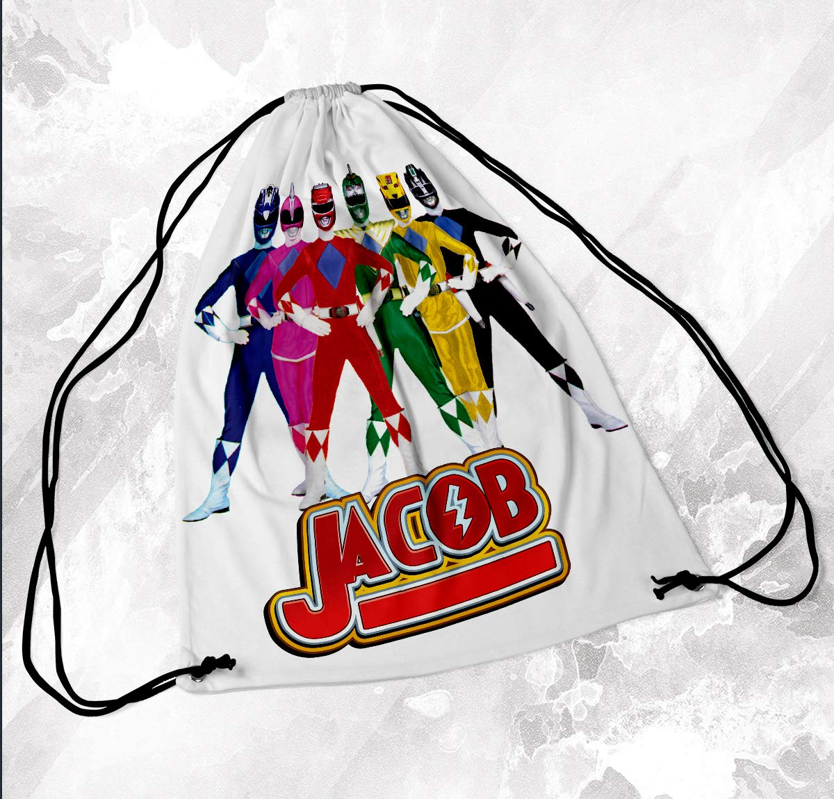 Personalised Drawstring Bag Any Name Power Rangers Swimming School Nursery PE 1 Novelty Things