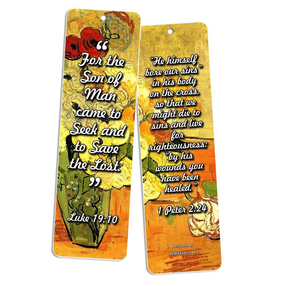 Christian Bookmarks Cards - Jesus has Risen (60 Pack) - John 3:16 Scriptures - God's Love Living Faith - Great Stocking Stuffers for Sunday School Bible Study Men Women Ministry Baptism Encouragement