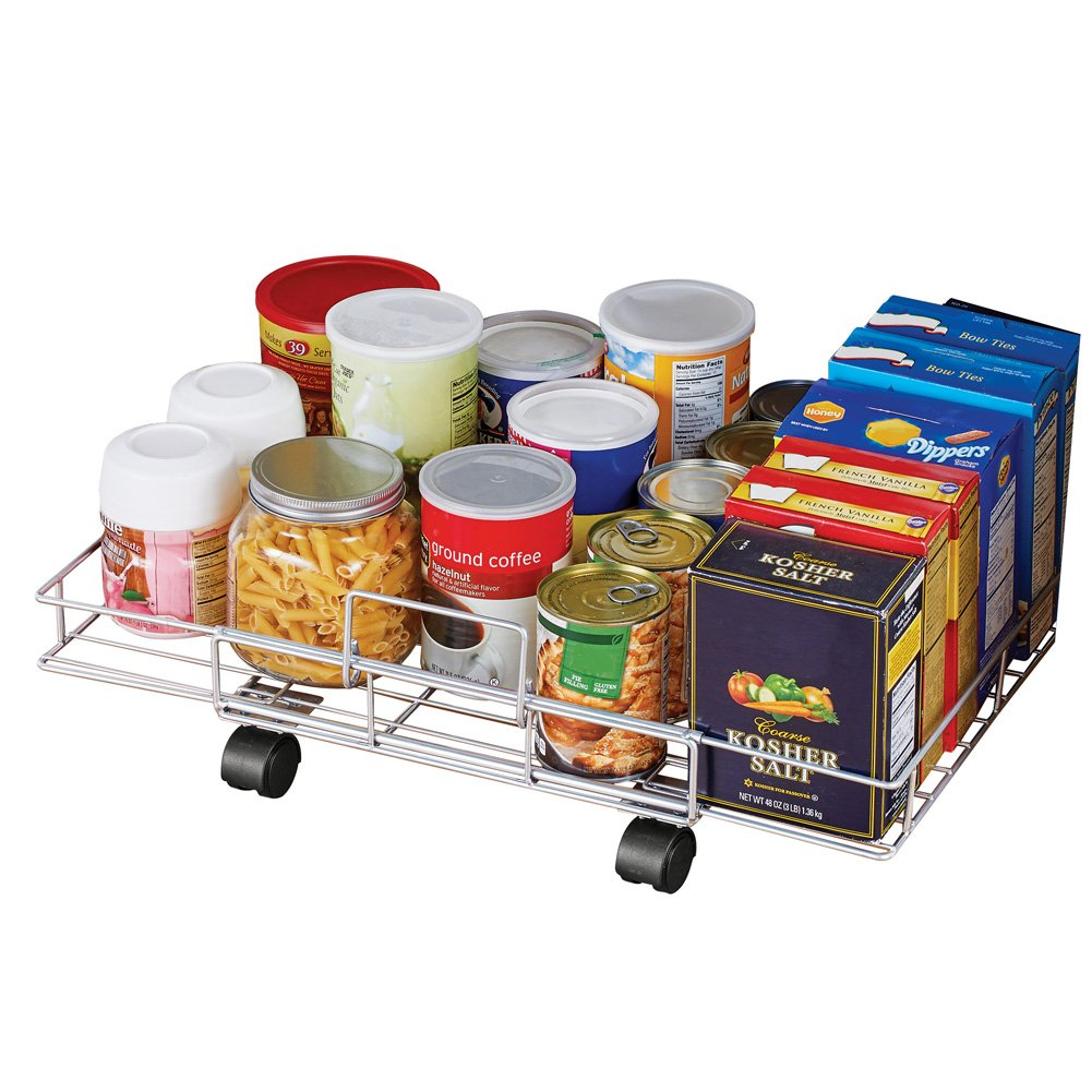 Slim Flat Rolling Floor Shelf Metal Storage Cart, Expandable