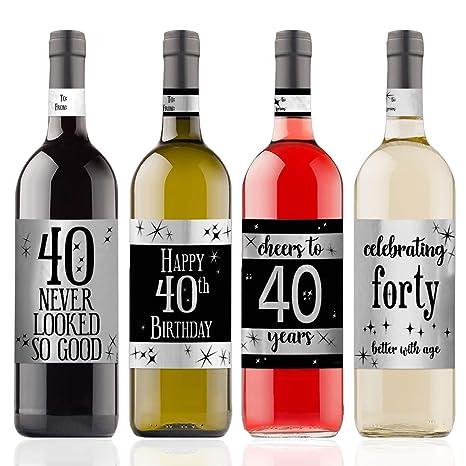 Etiquetas adhesivas para botellas de vino, diseño de 40 cumpleaños ...