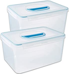 Komax Biokips 2-Pack Extra Large Food Storage Containers | 20-lbs Airtight Rectangular Containers With Handle | Flour, Rice, Sugar, Pet Food, Bulk Food Storage | BPA-Free Dishwasher Safe