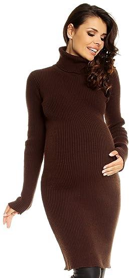 3dab9a00404 Zeta Ville Maternité - Robe en Maille côtelée de Grossesse col roulé Femme  417c (Brun
