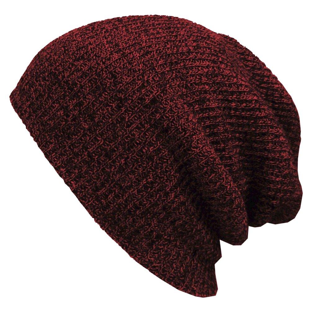 PIXNOR Beanie Cappello Uomo Misto lana uomo maglia Beanie cappello Vino rosso verde