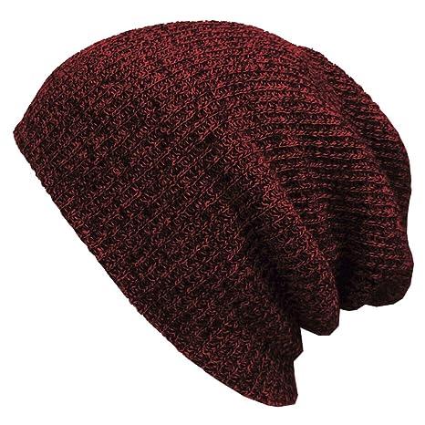 PIXNOR Beanie Cappello Uomo Misto lana uomo maglia Beanie cappello (Vino  rosso verde) 57f39d756d57