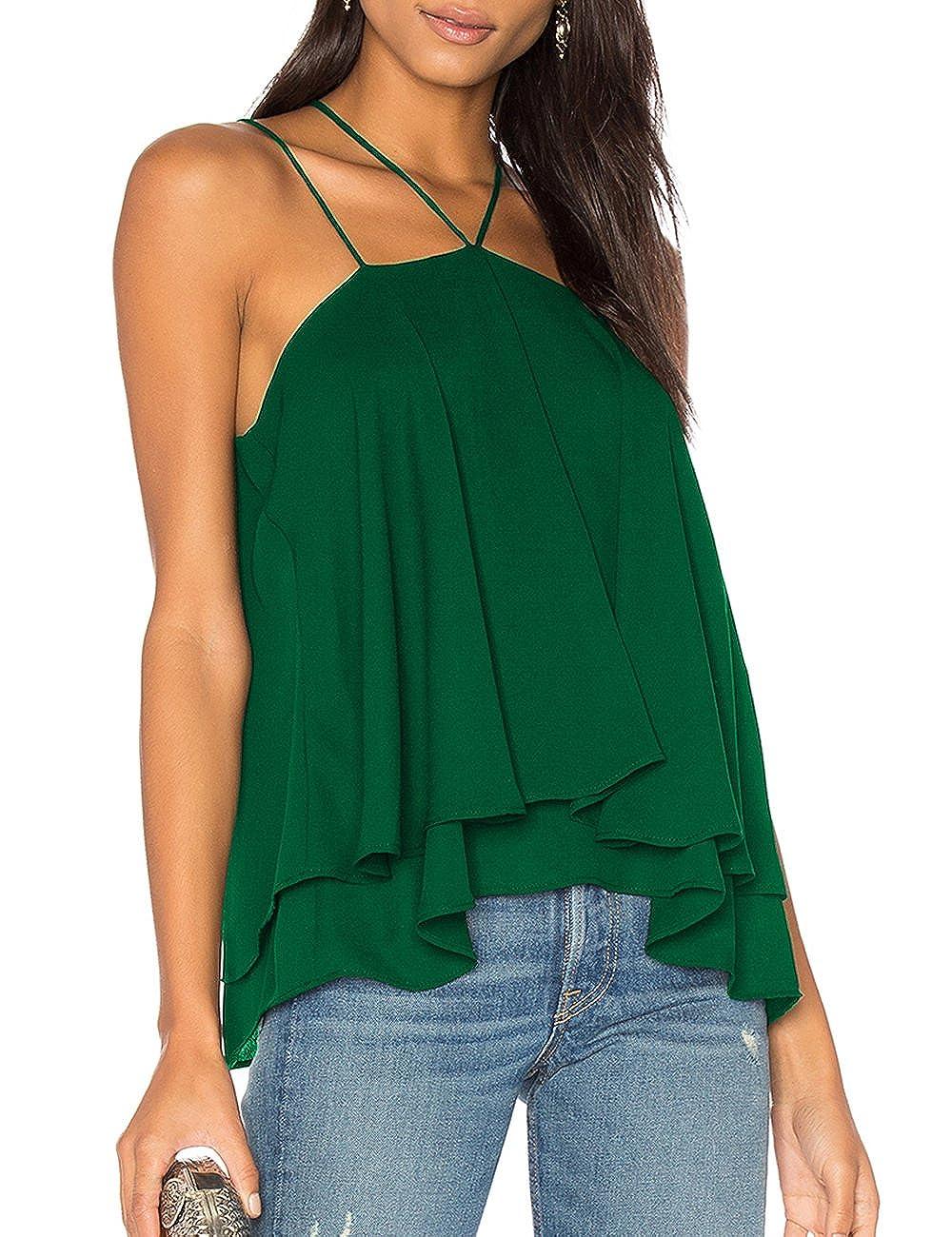 2ea6052102290f Ally-Magic Women s Sleeveless Tank Tops Double Strap Layered Chiffon Blouse  at Amazon Women s Clothing store