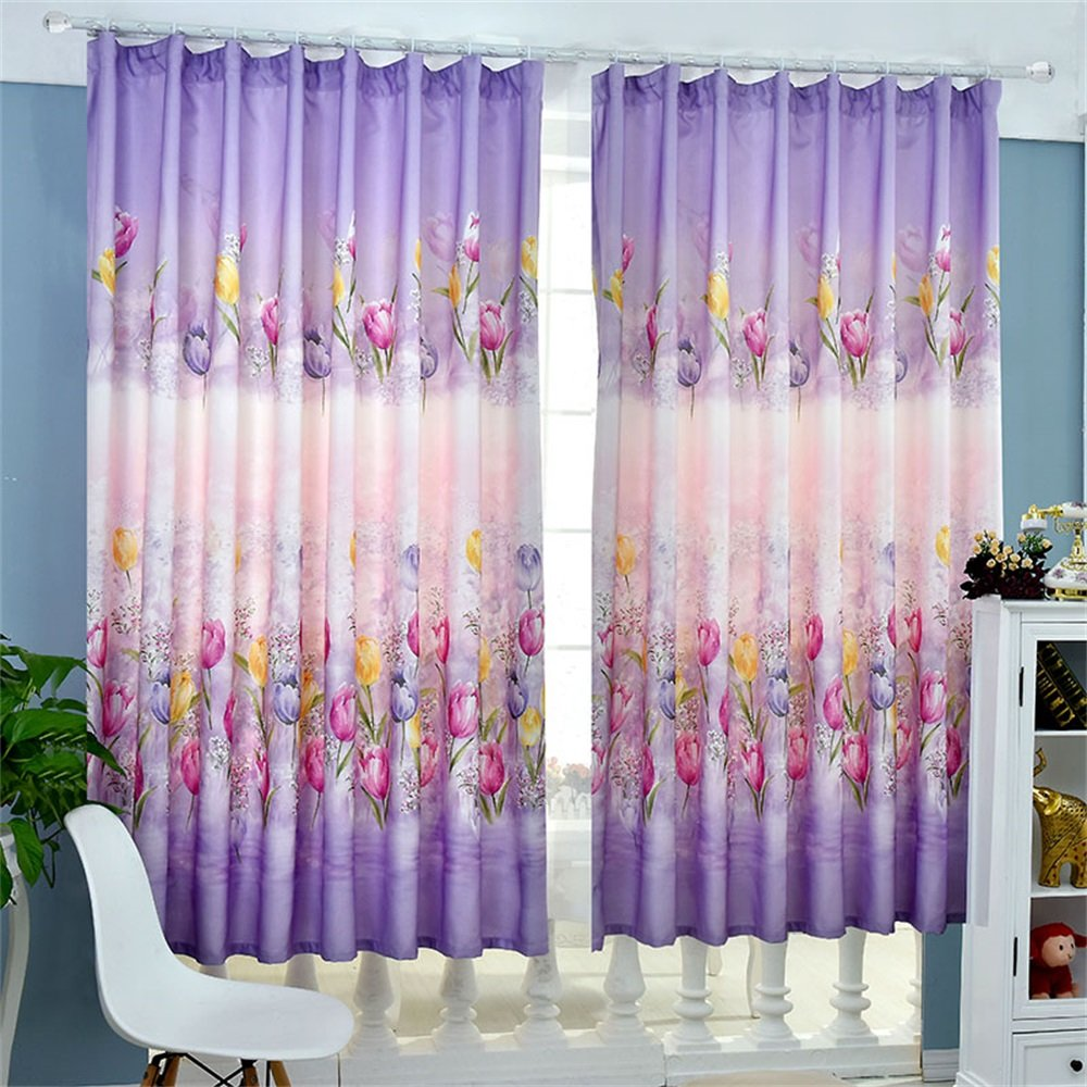 TIANTA- A Set Of 2 Pcs Bedroom Living Room Balcony Thickening Shading Imitation Cotton Linen Curtain Double-sided Pattern Simple Modern Finished Product decorate ( Size : 1.92m (widthheight) )