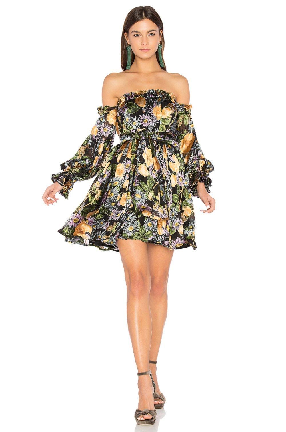For Love and Lemons Women's Luciana Strapless Dress Black Floral Dress