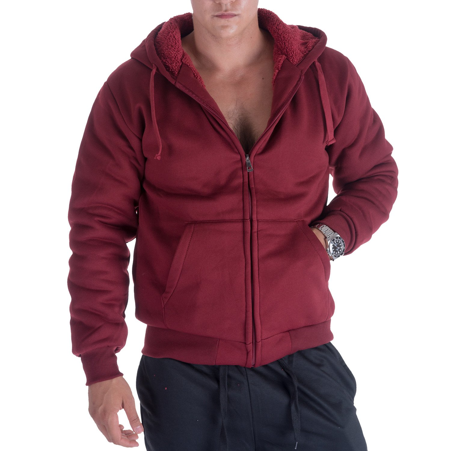 Gary Com Heavyweight Hoodies for Men, 1.8 lbs Sherpa Lined Fleece Full Zip Plus Size Sweatshirt Jackets Outwear