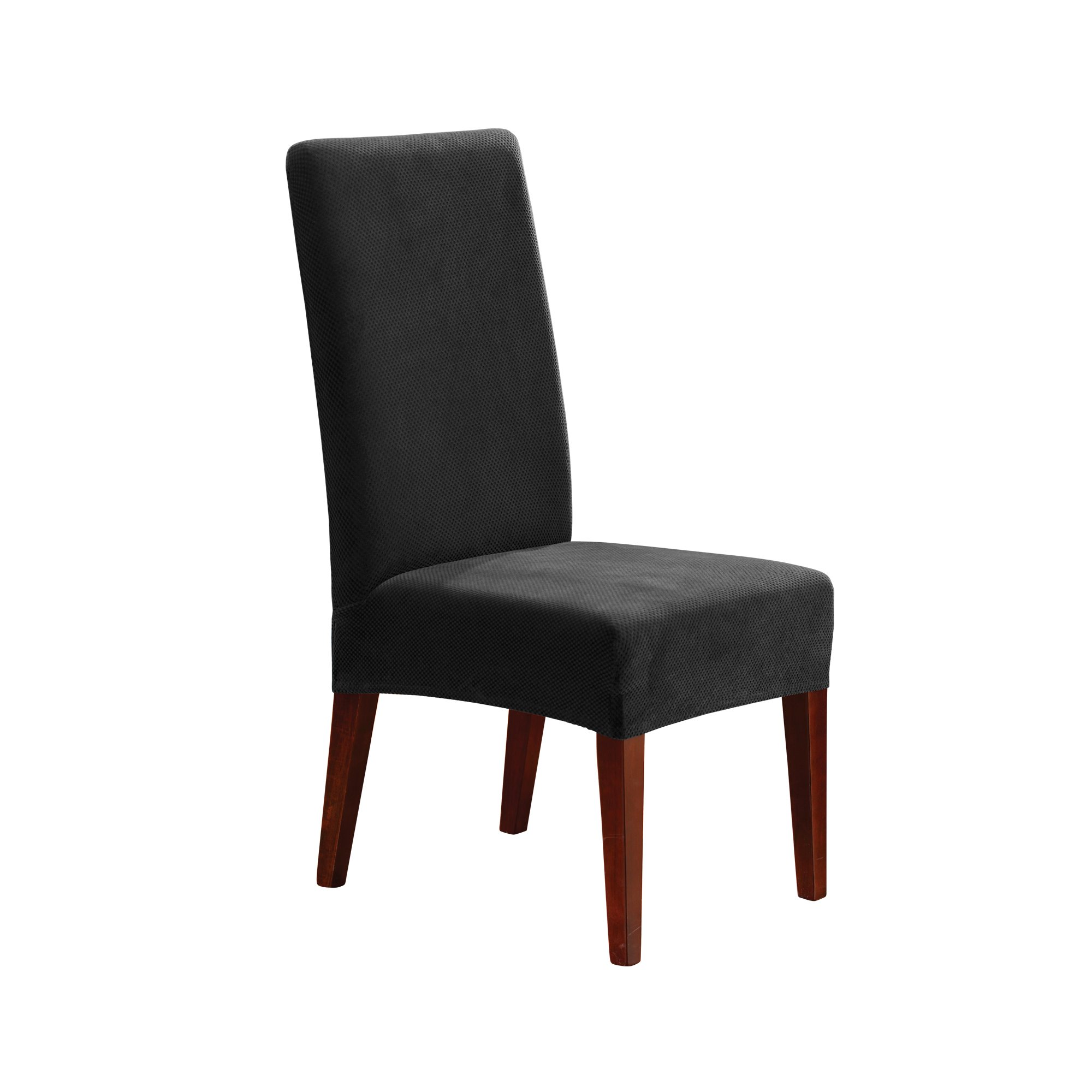 Sure Fit Stretch Pique - Shorty Dining Room Chair Slipcover - Black (SF36851)