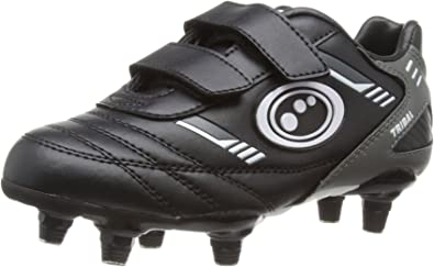 Optimum Tribal Soft Ground Kids Stud Football Boot Black//Grey UK 5