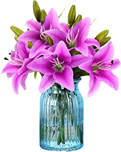 RERXN Artificial Tiger Lily Latex Real Touch Flower Home Wedding Party Decor,Pack of 5 (Purple)