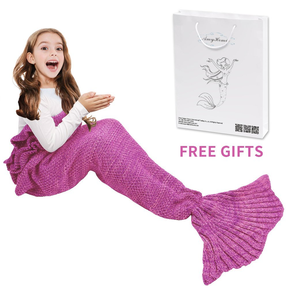 AmyHomie Mermaid Tail Blanket, Mermaid Blanket Adult Mermaid Tail Blanket, Crotchet Kids Mermaid Tail Blanket for Girls (Kids, Pink)