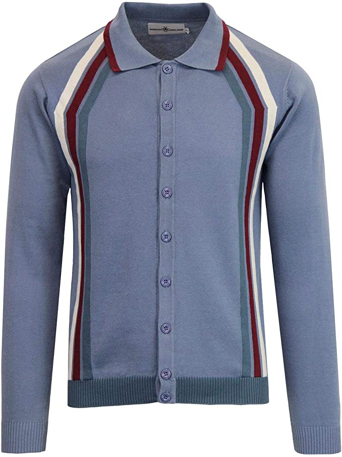 Men's Vintage Sweaters, Retro Jumpers 1920s to 1980s Madcap England Blast Mens Retro 50s 60s 70s Mod Knitted Polo Cardigan £39.99 AT vintagedancer.com