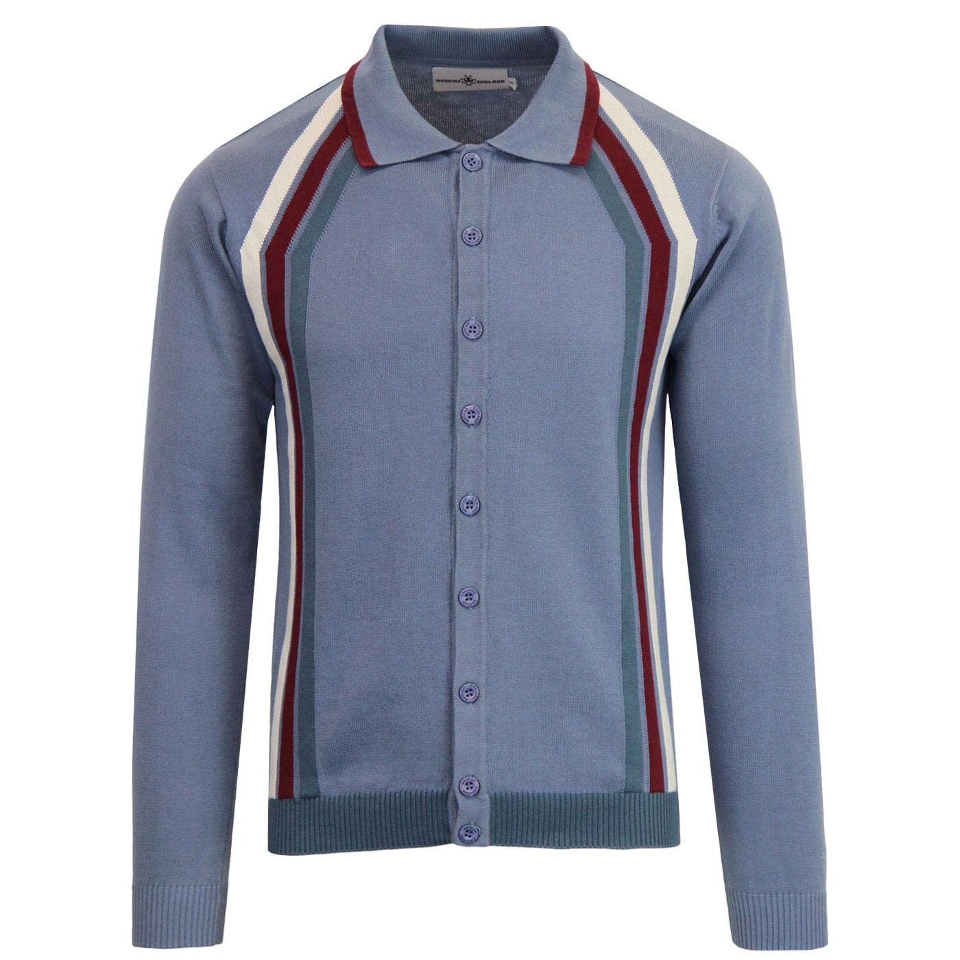 1960s – 70s Mens Shirts- Disco Shirts, Hippie Shirts Madcap England Blast Mens Retro 50s 60s 70s Mod Knitted Polo Cardigan £39.99 AT vintagedancer.com