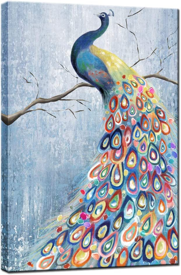 sechars Peacock Paintings Canvas Wall Art Blue Peacock Spreads Colorful Tail Painting with Frame Vintage Animal Artwork for Home Living Room Bedroom Decor Ready to Hang