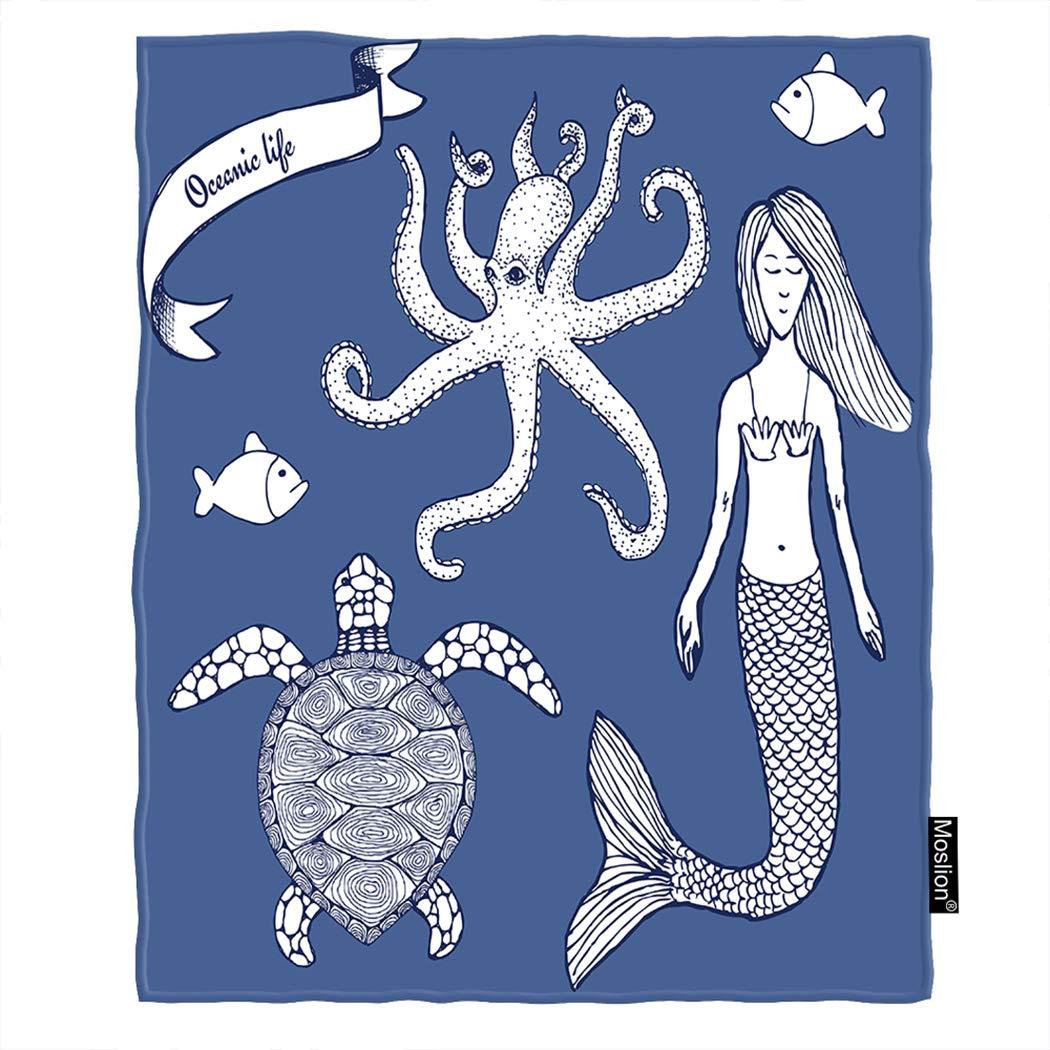 Moslion マーメイド スロー ブランケット スケッチ 海洋 海 タコ 亀 魚 マーメイド ブランケット ホーム 装飾 フランネル 暖かい 旅行 ブランケット 30 x 40インチ ペット犬 猫用 ブルー ホワイト 60*80 Inch BLANKETAZX-C350 B07L1GBTTD C349-1 60*80 Inch