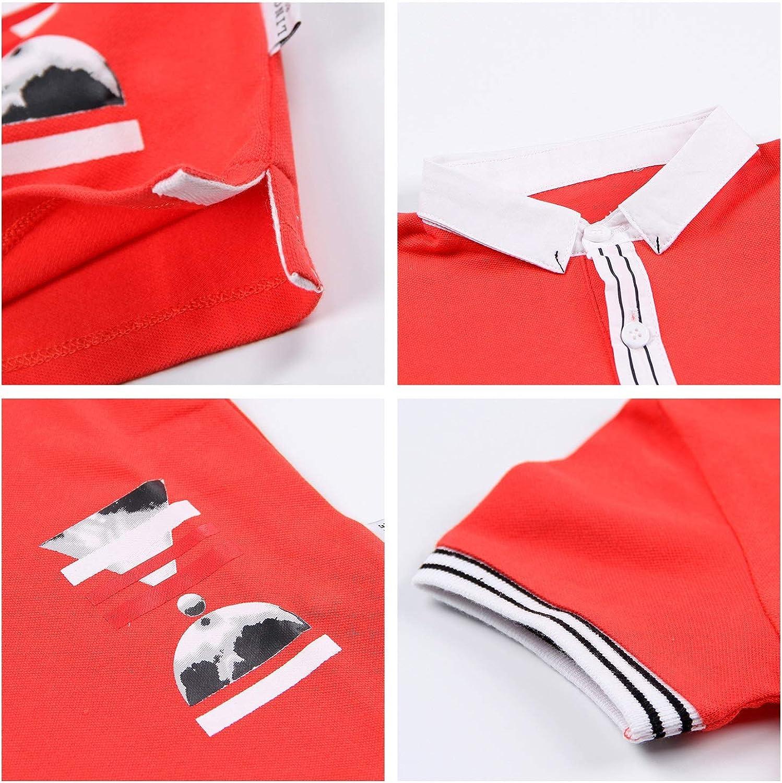 Color : Red, Size : 110cm XINXINHAIHE Infant Baby Boy Lapel T-Shirt Letter Print Short Sleeve Top Cotton Summer