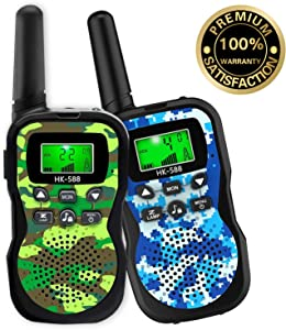 HLAOLA Kids Walkie Talkies,22 Channel 2 Way Radio Kid Gift Toy 3 Miles Range with Backlit LCD Flashlight Best Gifts Toys for Boys and Girls to Outside Adventure , Camping,Best Gift Toys for Kids