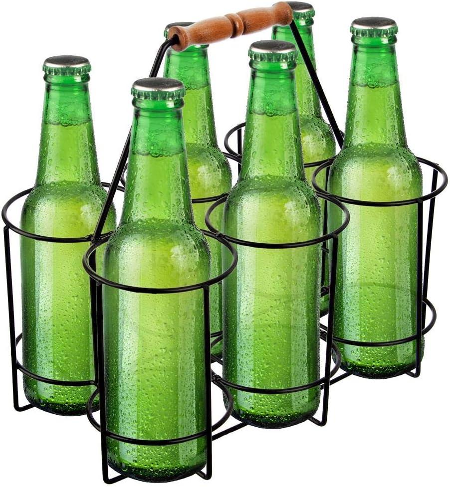 Wire Metal Milk Crate Bottle Carrier Pint Beer Holder Wood Handle 6 Bottle Holder