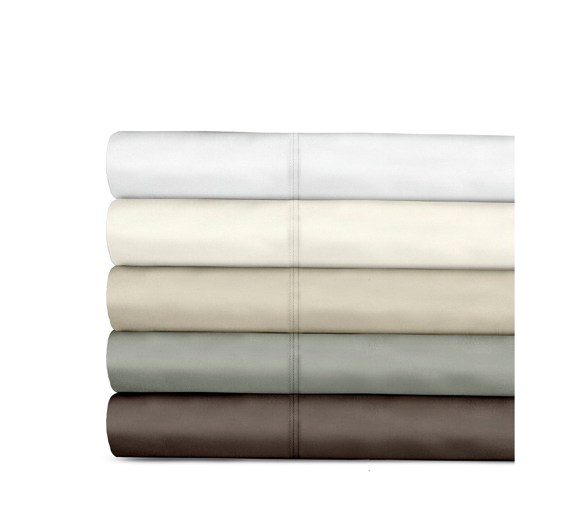 Veratex Supreme Sateen 800-Thread Count Egyptian Cotton Solid Sheet Sets Espresso Queen Sheet Set