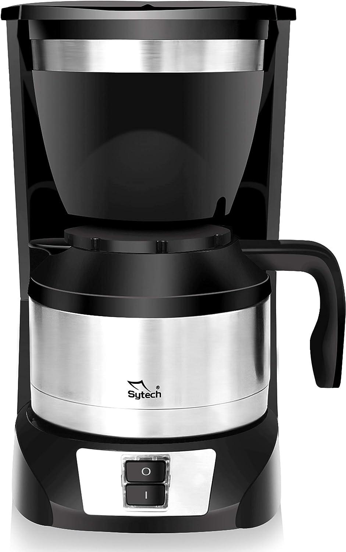 Sytech Cafetera eléctrica de Goteo con Jarra térmica, Acero Inoxidable, Negro, 1 L: Amazon.es: Hogar