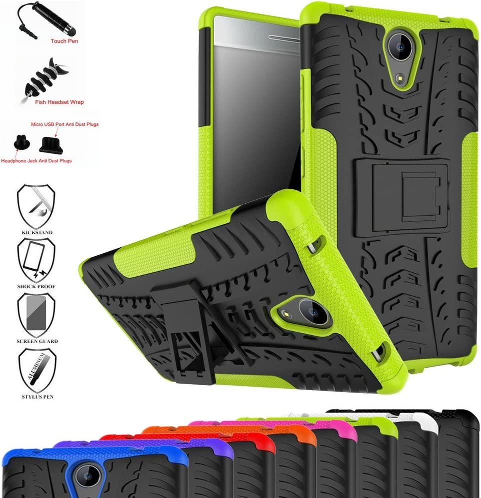 Lenovo Phab 2 Case,Mama Mouth Shockproof Heavy Duty Combo Hybrid Rugged Dual Layer Grip Cover with Kickstand for Lenovo Phab 2 Smartphone(with 4 in 1 Packaged),Green