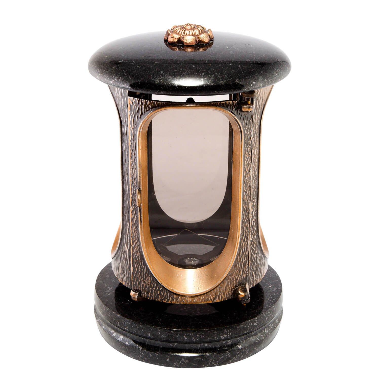 Afterglow Stilvolle Grablaterne Elégant Granit Schwedisch Black Höhe 23 cm/Ø 14, 5 cm Grableuchte Grablicht Grablampe Granitlampe Granitlaterne Bronze mit Sockel Grabschmuck