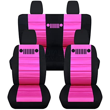 Amazoncom 2011 2017 Jeep Wrangler Jk Seat Covers Black Hot Pink