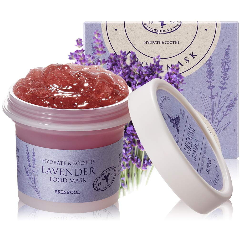 SKINFOOD Lavender Food Mask 120g (4.23 oz.) - Panthenol Contains Hydrating and Cooling Gel Wash-off Mask for Sensitive Skin, Natural Lavender Theraphy, Shower-Proof Texture, Skin Safety Tested