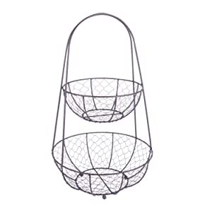 DII Z01364 Vintage Metal Chicken Wire 2 Tier Fruit and Vegetable Standing Storage Basket for Kitchen and Pantry 11.82 x 9.85 x 19.7""
