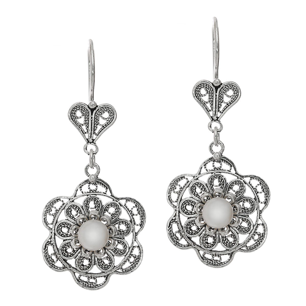 925 Sterling Silver /& Freshwater Cultured Pearl Filigree Dangle Flower Earrings