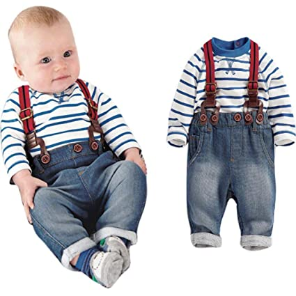 8ff8d42d6b GBSELL Fall Winter Toddler Baby Boys Long Sleeve Striped T-Shirts + Jean  Bib Pants