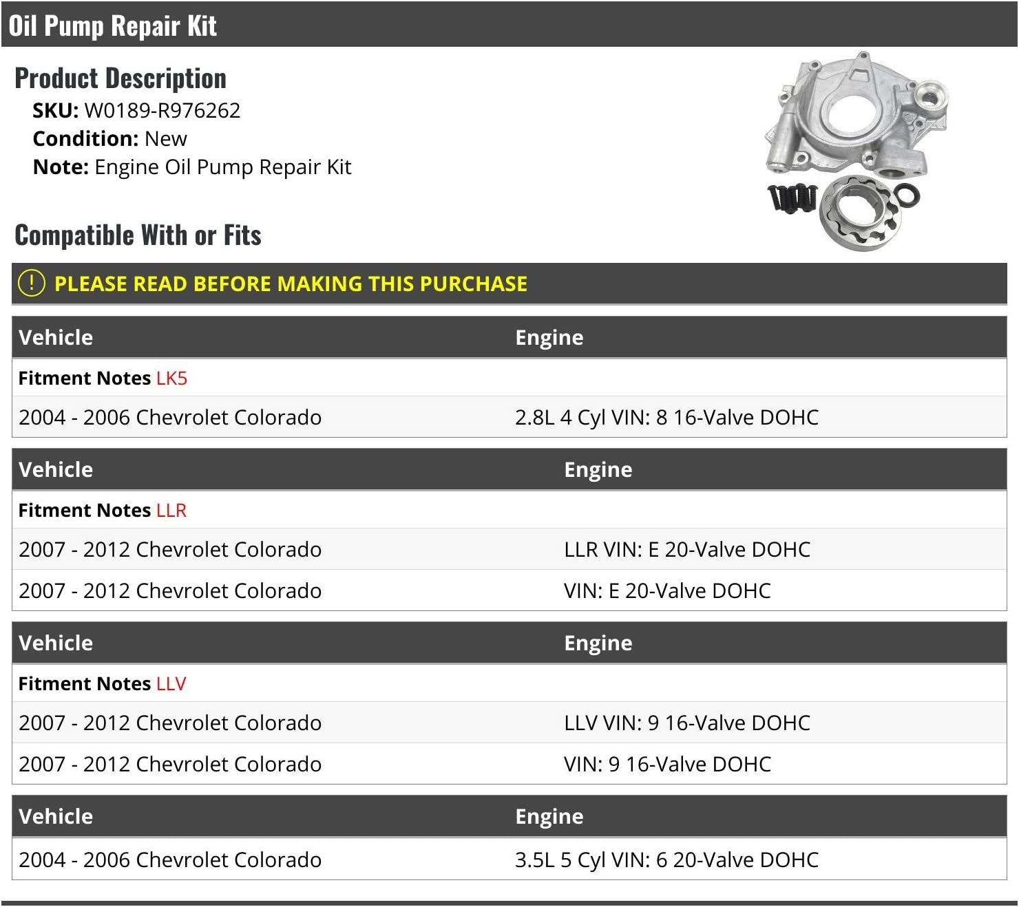 Compatible with 2004-2012 Chevy Colorado Oil Pump Repair Kit