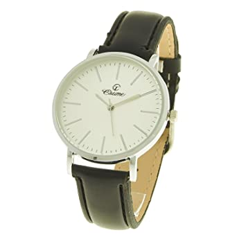 724824ef516e7 montre-concept Women's Analog Watch - Black Leather Strap - mab-2-00276  White Round Dial Silver Color Background: Amazon.co.uk: Watches