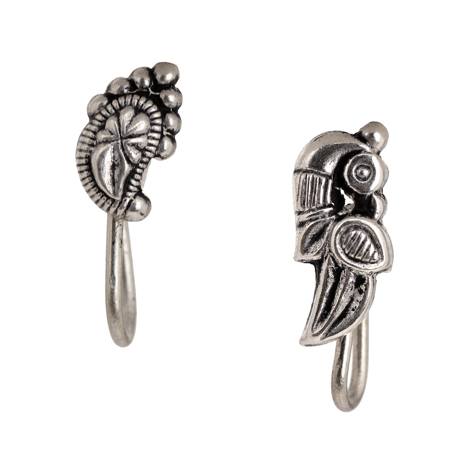 Tjori Peacock Shaped Nose Pins Handcrafted In .925 Sterling Silver Set of 2
