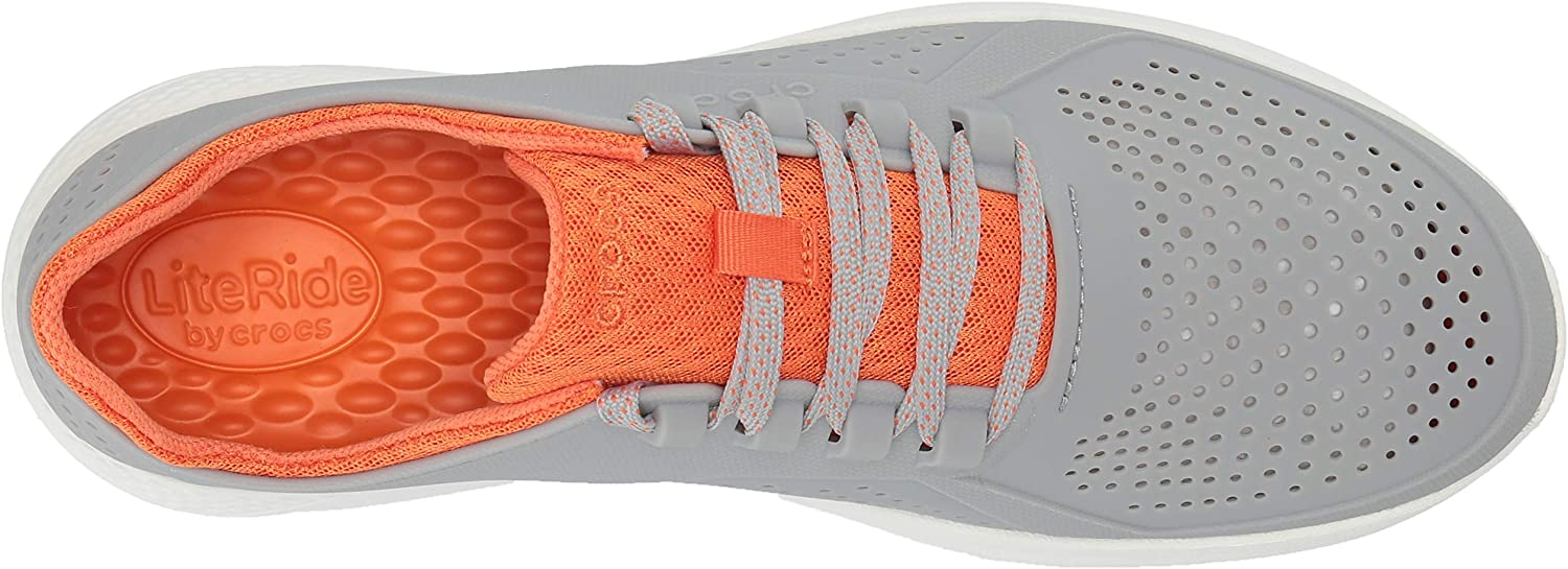 CROC Men's Literide Pacer Sneaker | Comfortable Tennis Shoes Light Grey/Orange