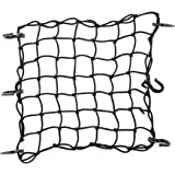 "CZC AUTO 15""x15"" Black Latex Bungee Cargo Net Strech to 30""x30"", Gear Helmet Luggage Netting with 2""X2"" Small Mesh and 6…"