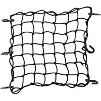 """CZC AUTO 15""""x15"""" Black Latex Bungee Cargo Net Strech to 30""""x30"""", Gear Helmet Luggage Netting with 2""""X2"""" Small Mesh and 6…"""