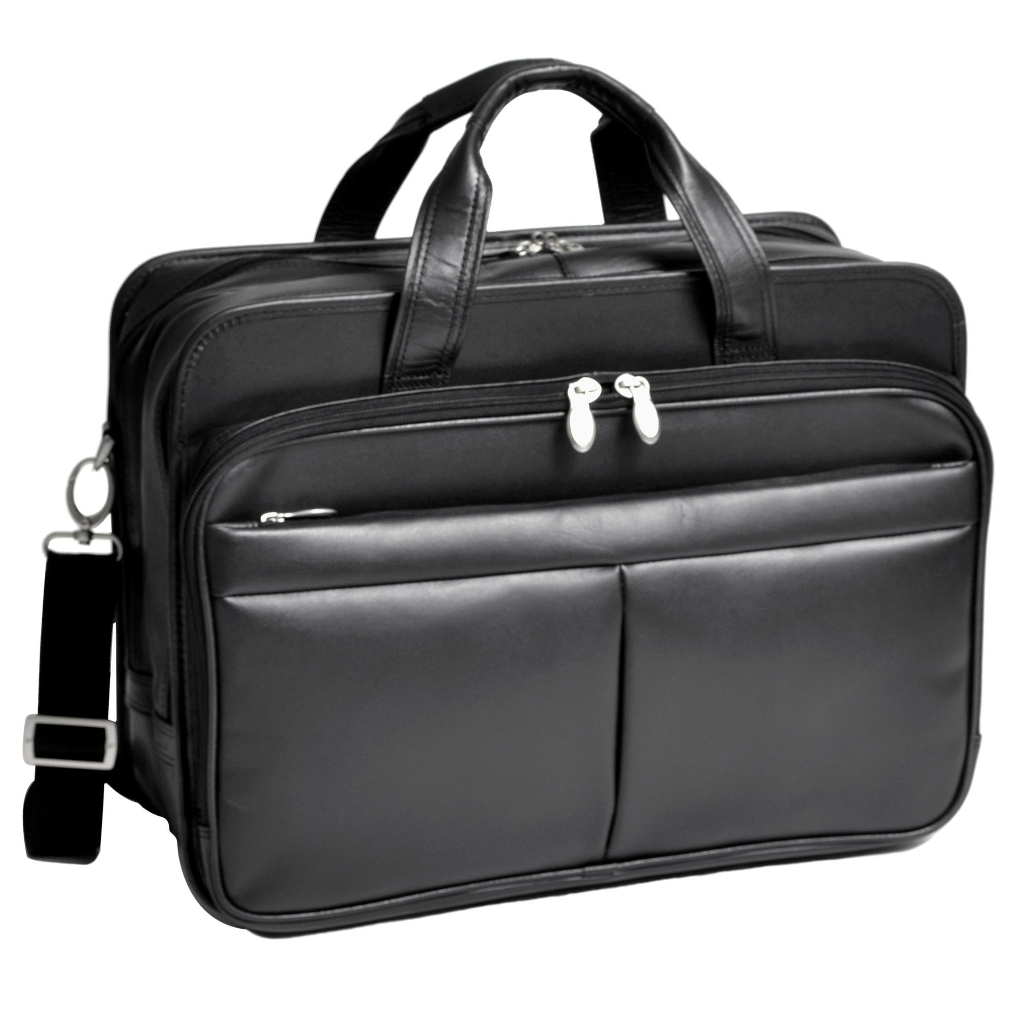 McKleinUSA WALTON 83985 Black Expandable Double Compartment Laptop Case w/ Removable Sleeve by McKleinUSA