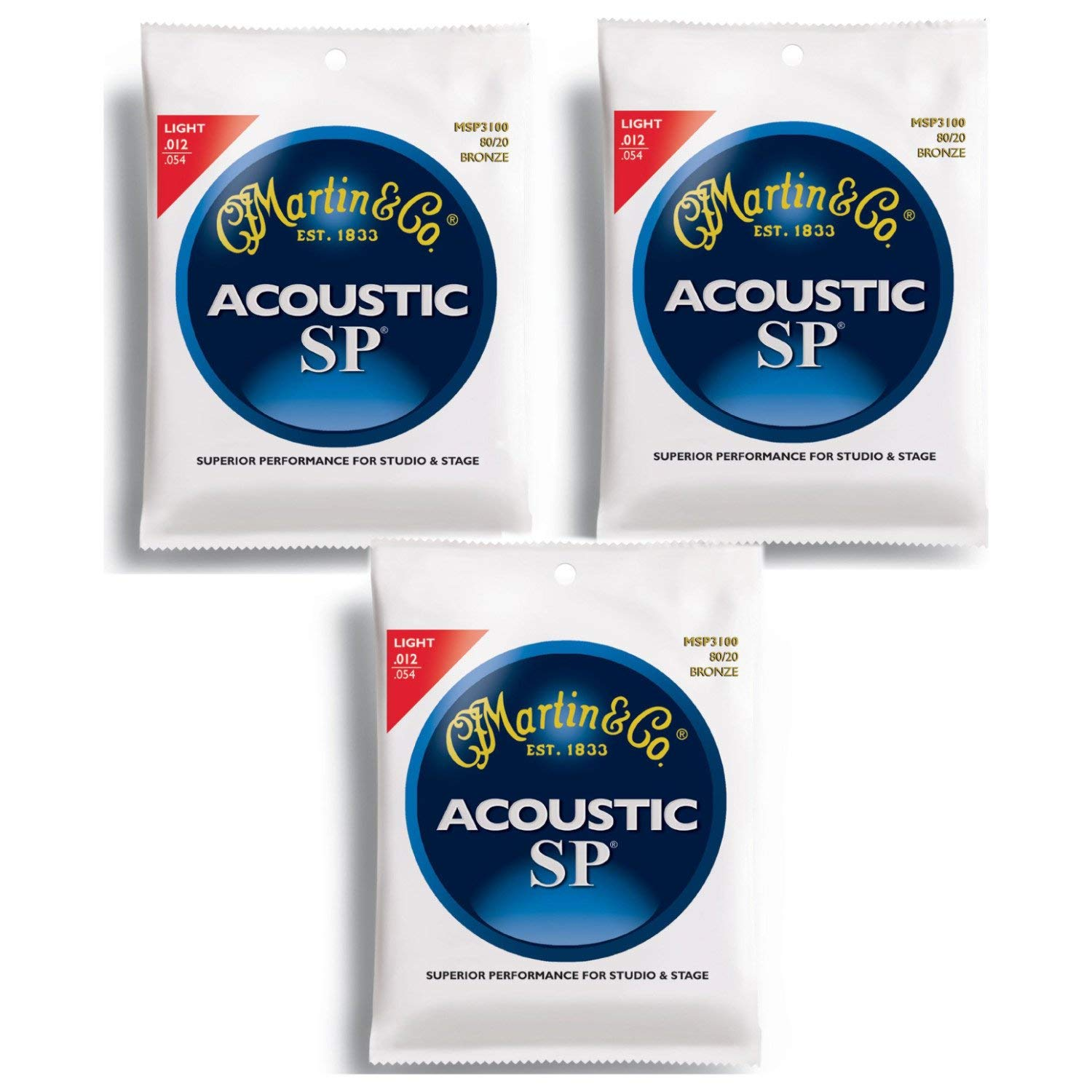 Martin MSP4100 SP Phosphor Bronze Acoustic Guitar Strings, Light - 3 Pack with Picks by Martin Strings
