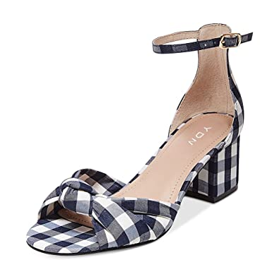 0762be5ef969 YDN Women Chunky Low Heel Fabric Plaid Sandals Ankle Strap Open Toe Shoes  with Bowknot Black