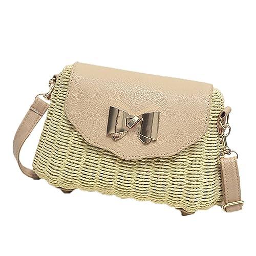 bc608c4288f1 Pulama Wicker Woven Crossbody Straw Beach Bucket Summer Fashion Vacation  Women Top Handle Handbag Beige Crossbody  Amazon.ca  Shoes   Handbags