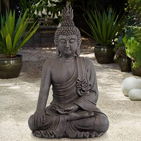 Amazon Com John Timberland Asian Zen Buddha Indoor Outdoor Statue 42 High Sitting For Yard Garden Patio Deck Home Entryway Hallway Home Kitchen