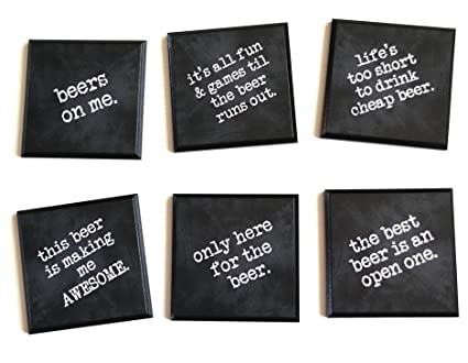 Amazon Com Funny Beer Quote Coasters Set Of 6 Quality Black Wood