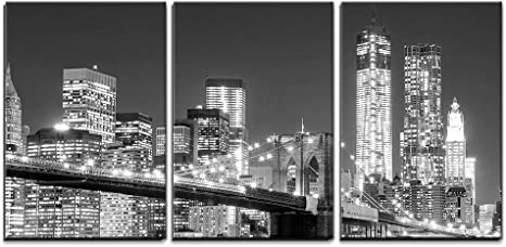 Amazon Com Wall26 3 Piece Canvas Wall Art Grayscale Photograph Of The Brooklyn Bridge Looking Over New York City At Night Time Modern Home Art Stretched And Framed Ready To
